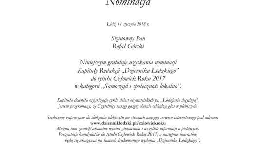 2. miejsce w Łodzi – plebiscyt Człowiek Roku 2017